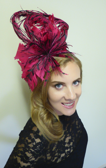 hats by zarbella pink and black feather race wear hat